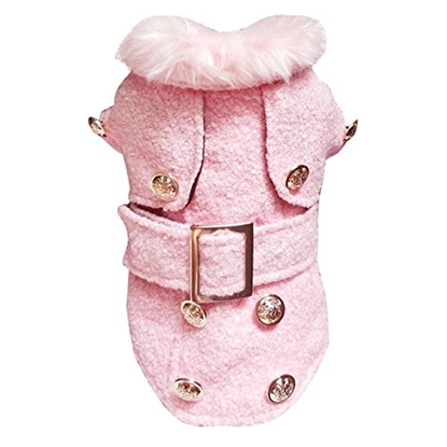 HCFKJ Pet Costume Pet Dog Jacket Winter Sheep Tweed Fabric Warm Thick Pet Dog Clothes Hot Puppy Clothing Small Dog Pink Sweaters for Girls (XL)]()