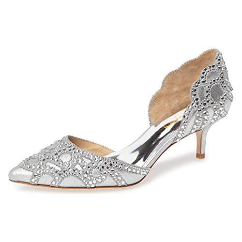 (XYD Women D'Orsay Wedding Pumps Pointed Toe Low Kitten Heels Slip On Rhinestones Bridal Shoes Size 8 Silver)