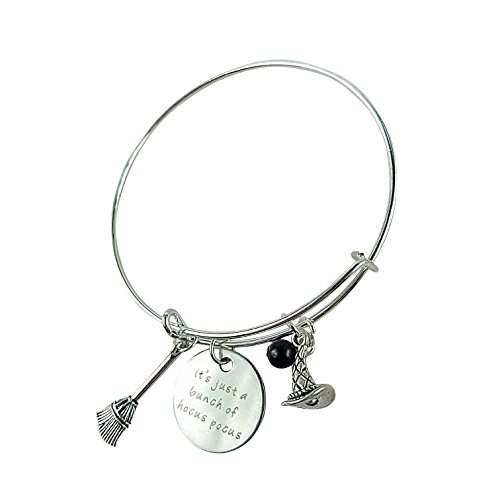 Art Attack Silvertone It's Just A Bunch Of Hocus Pocus Witches Broomstick Hat Halloween Black Beaded Pendant Expandable Bracelet for $<!--$9.95-->