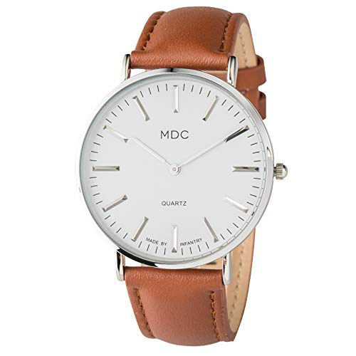 MDC Mens Classic Brown Leather Watch Slim Minimalist Wrist Watches for Men Casual Dress Analog Ultra Thin