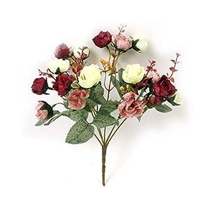 JIAHUADE 21 Heads/Bouquet Elegant Artificial Rose Silk Flowers Home Wedding Party Decor Artificial Flower Bouquet Decoration Flowers 34