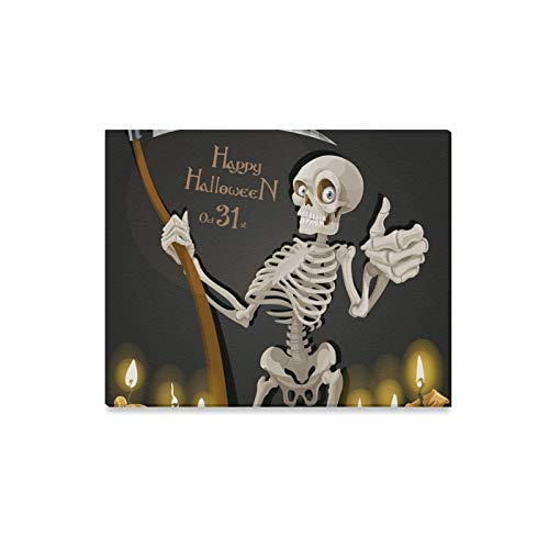 XINGCHENSS Wall Art Painting Death Skeleton Scythe Halloween Party Invitation Prints On Canvas The Picture Landscape Pictures Oil for Home Modern Decoration Print Decor for Living Room