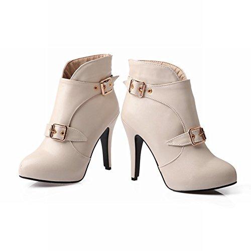 Carol Chaussures Mode Femmes Vente Chaude Western Boucle Nouvelle Arrivée Partie Talons Hauts Talons Cheville Bottes Beige