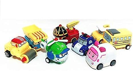 8 PCS Poli Robocar Pull Back Toy Robot Cars Korea Cartoon Deluxe Die Cast Set Christmas Childrens Day Gift Boys Girls Toy