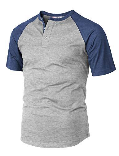(H2H Men's Casual Slim Fit Short Sleeve Henley Shirt Raglan Baseball T-Shirts Tee Gray US M/Asia L (CMTTS233))