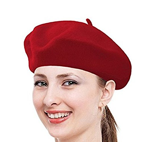 [Classic French Beret, FuzzyGreen Red Solid Color French Wool Beret - 2017 Newest] (Beatnik Costumes Ideas)
