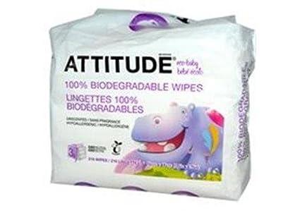 ATTITUDE, Eco-Baby, Toallitas 100% Biodegradables, Sin Perfume, 3 Paquetes