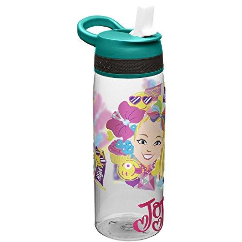 Nickelodeon JOJA-S830-AMZ Jojo Siwa Kids Water Bottle with Straw and Built in Carrying Loop, Tritan Blue