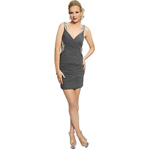 JVN by Jovani Womens Embellished Pleated Semi-Formal Dress Gray 2