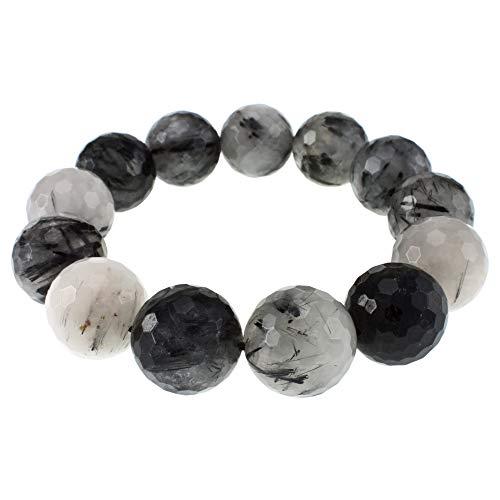 - Faceted Bead Stretch Bracelet (Black Rutilated Quartz)