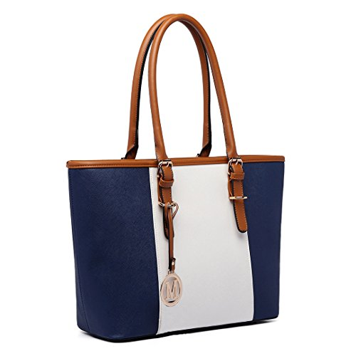 Shopper Shoulder Designer Tote Leather Bags Adjustable Handbags Navy E1661 Pu Women's Casual Style Miss Lulu Handles PwxCE7qwT