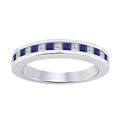 Princess Cut Blue Sapphire & Diamond Half Eternity 14k White Gold Plated 925 Sterling Silver Wedding Band Ring for Women
