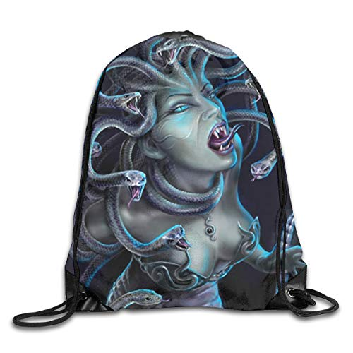 Medusa Sexy Halloween Patterned Themed Printed Drawstring Bundle Book School Shopping Travel Back Bags Draw String Gym Backpack Bulk Girl Boy Women Men