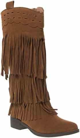 9e9d452935b V-Luxury Womens 28-FRINGE Closed Toe Med Heel Knee High Western Boots