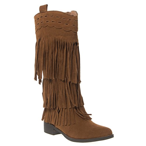 V-Luxury Womens 28-Fringe Closed Toe Med Heel Knee High Western Boots, Rust Faux Suede, 7.5 B (M) US