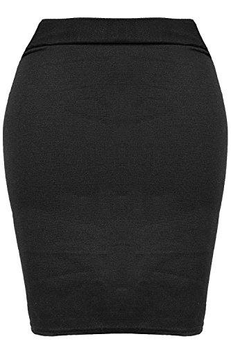 Femmes Imprimé Pied De Poule PVC Simili Cuir PU Bodycon Extensible Court Mini Tube Jupe Grande Taille - Bande Mini Jupe Noir, Grande taille (EU 44/46)