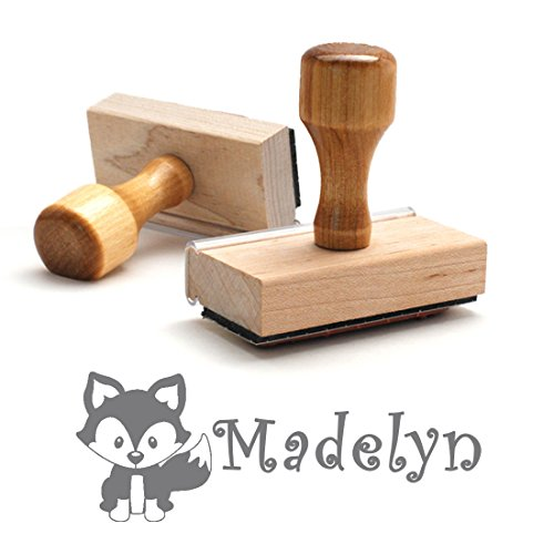 Personalized Name Self Inking Stamp, Fox Stamp, Custom Stylish Font, Customized with Name, Rubber Stamp, Naming Stamp, Children's Signature Stamper, School Book Label Name, Kids Stamp (Wooden Handle)