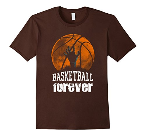 Mens Basketball is Forever! Funny Zombie Basketball Halloween Tee Small Brown