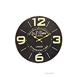 American Chateau 13.25 Large Vintage-Style London Standard Time Old Town Wood Wall Clock