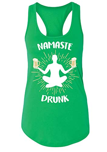 St Patrick's Day Namaste Drunk Women's/Juniors Funny Drinking Tank Top L Kelly Green ()