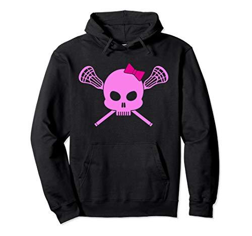 Girls Lacrosse Hoodie | Pink Skull Womens Lax design