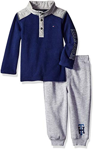 Tommy Hilfiger Baby Boys 2 Pieces Pants Set, Navy/Gray, 12M