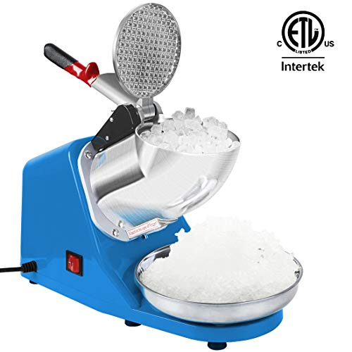(VIVOHOME Electric Ice Crusher Shaver Snow Cone Maker Machine Blue 143lbs/hr for Home and Commerical Use ETL Safety Standard Certified)
