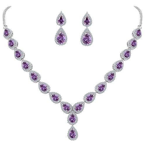 Amethyst Bib - BriLove Wedding Bridal Necklace Earrings Jewelry Set for Women Teardrop CZ Infinity Figure 8 Y-Necklace Dangle Earrings Set Amethyst Color Silver-Tone February Birthstone