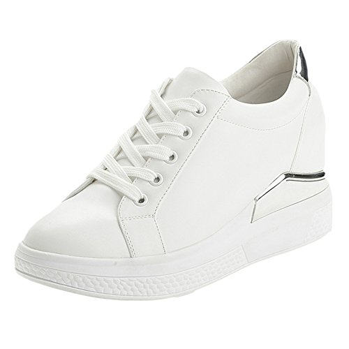 CYBLING Casual Lace-Up Sneaker Heel Increase Fashion Sport Shoes lxICe