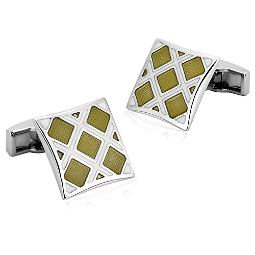 Aooaz Mens Stainless Steel Cufflinks White Yellow Rhombus Square Shirt Wedding Retro 1.7X1.7CM [Gift Box]