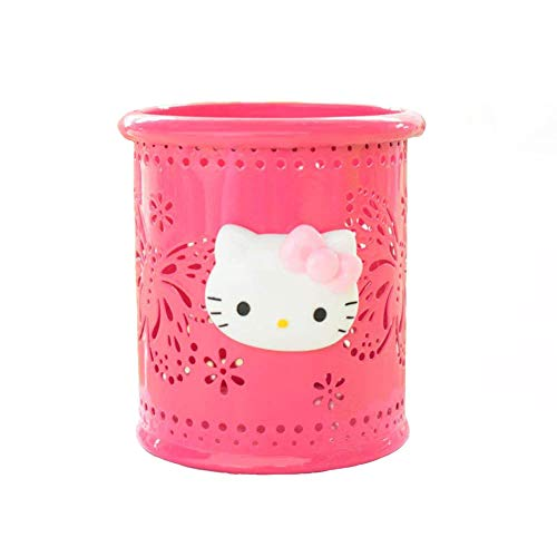 YOURNELO Cute Hello Kitty Hollow-Out Pen Pencil Holder Desk Organizer Accessories (Rose Butterfly)]()