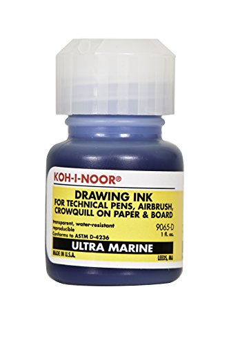 - Koh-I-Noor Dye-Based Drawing Ink, 1 Ounce Bottle, Ultramarine Blue (9065D.ULT)