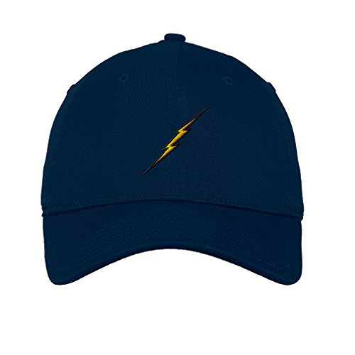 Lightning Bolt Twill Cotton 6 Panel Low Profile Hat Navy
