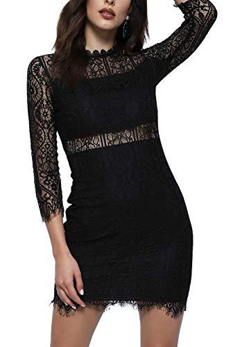 Kinikiss Women's Sexy Lace Hollow Waist Mid Long Sleeve Wedding Party Wrap Slim Fit Dress (Black, S)