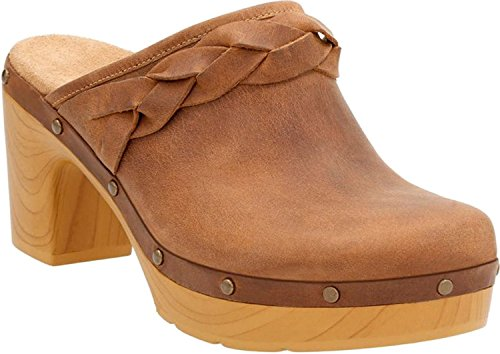 Clarks Ledella Meg Womens Heeled Clogs Light Tan Leather (Suede Casual Clogs)