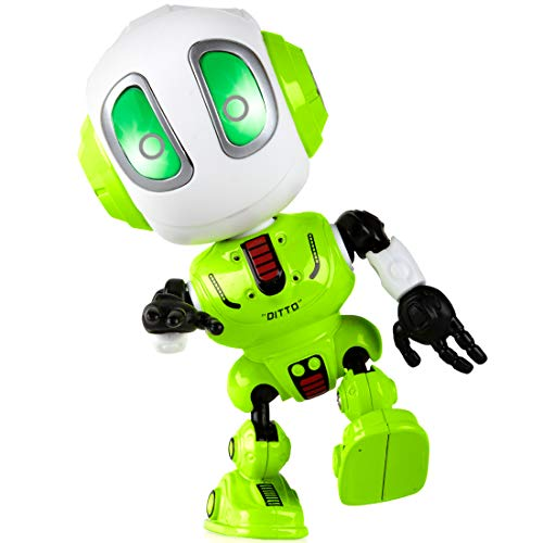 (Toy Robots for Boys or Girls - Ditto Mini Talking Robots for Kids w/ Posable Body, Bright LED Toys Interactive Voice Changer Robot Travel Toys)