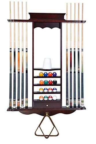 Cue Rack Only- 10 Pool - Billiard Stick & Ball Wall Rack Choose Oak or Mahogany Finish Made of Wood -