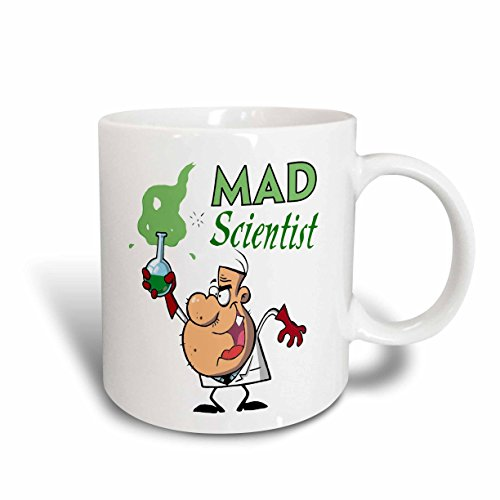 (3dRose mug_118652_2 Funny Cartoon Mad Scientist with Green Potion Ceramic Mug, 15-Ounce)
