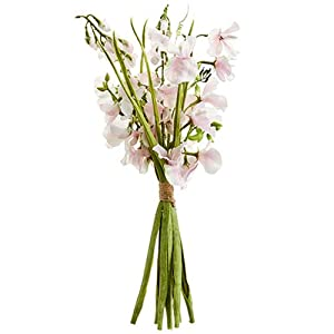 "17"" Sweet Pea Silk Flower Stem Bundle -Soft Pink (Pack of 6) 73"