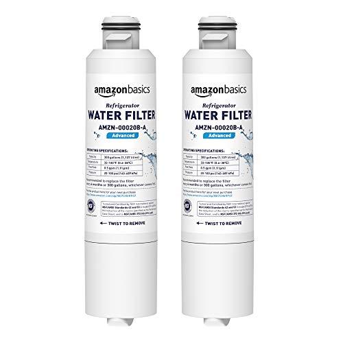 2pk Water Filter Cartridge - AmazonBasics Replacement Samsung DA29-00020B Refrigerator Water Filter Cartridge - Pack of 2, Advanced Filtration