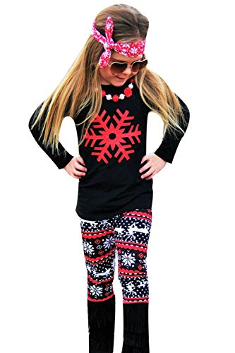 Christmas Clothes Girls - Dovee Baby 2pcs Toddler Baby Girls Snowflower Long Sleeve Outfits Top+Pants Clothes Set