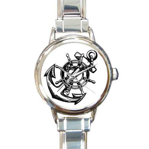 Christmas Day Gift Cool Anchor and Wheel Round Italian Charm stainless steel Watch by Cool Anchor Watch (Image #1)