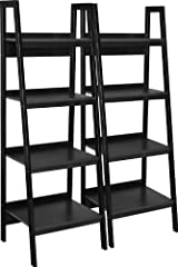 If you need more room to store your books, the Ameriwood Home Lawrence 4-Shelf Ladder Bookcase Bundle is just for you! With 2 ladder-style bookcases boasting 4 shelves each, this set is great for adding more vertical storage to your living ro...