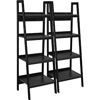 Image of Home and Kitchen Ameriwood Home Lawrence 4 Shelf Ladder Bookcase Bundle, Black