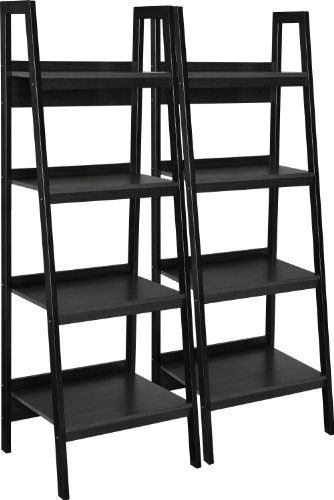 Ameriwood Home Lawrence 4 Shelf Ladder Bookcase Bundle, Black (Unit Under Stairs Tv)