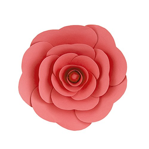 (Mega Crafts 12'' Handmade Paper Flower in Coral | for Home Décor, Wedding Bouquets & Receptions, Event Flower Planning, Table Centerpieces, Backdrop Wall Decoration, Garlands & Parties)