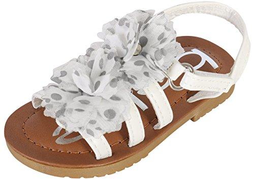 Toe Flower Girl (bebe Toddler Girls Open Toe Flower Sandals, White, 6 M US Toddler')