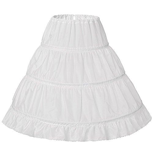 BKSKK Girls 3 Hoop Flower Girl Crinoline Petticoat Skirt with Lace Edge (one size) (Petticoat Lace Crinoline)