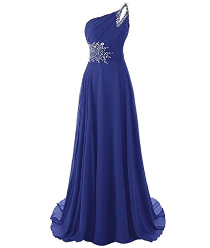 8f50de4aad3 Kivary Long A Line Beaded One Shoulder Formal Corset Prom Evening Dresses  Light Royal Blue US 12