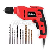 "Hi-Spec 400W Multi Purpose Corded Electric Power Drill 3/8"" (10mm) Keyless Chuck, Variable Speed Control. With 9 Piece Drill Bits for Metal, Masonry, Wood & Plastic DIY Drilling & Repairs in the Home"